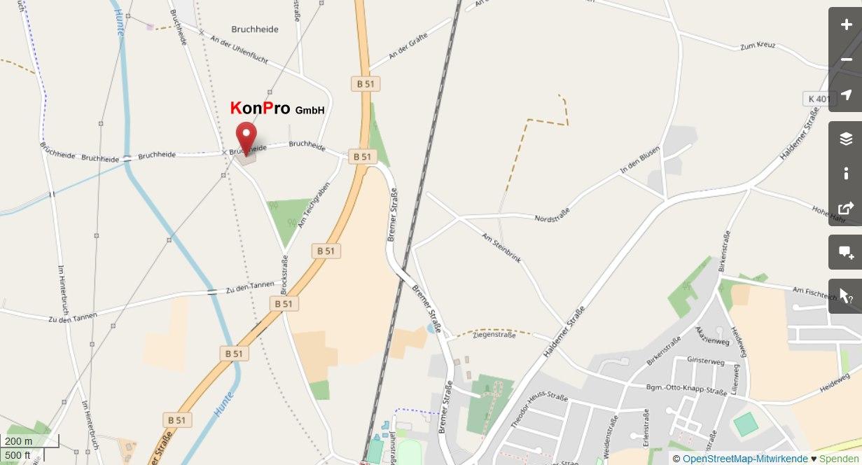 Lageplan / Route Konpro GmbH -zur OpenStreetMap Übersichtskarte